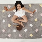 Lorena Canals Dywan do Prania w Pralce Tricolor Star Gris/Rosa
