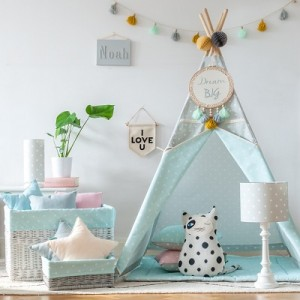 Namiot tipi Lovely Dots mint grey 110x100 cm