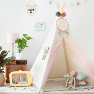 Namiot tipi Natural Lovely Dots pink 110x100 cm