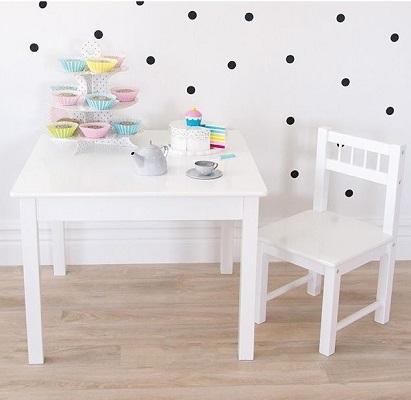 Jabadabado Drewniany Biały Kwadratowy Stolik Dla Dzieci Baby Concept