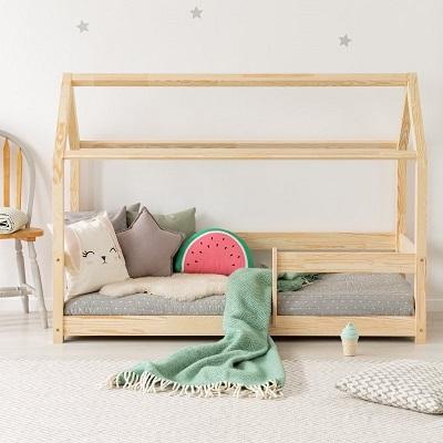 Drewniane łóżko Domek Dla Dzieci Z Barierką